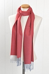 Red Grey Fringe Scarf